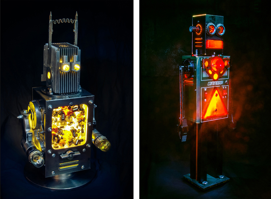 Brauer Upcycled Robots - Voltman and Commodor