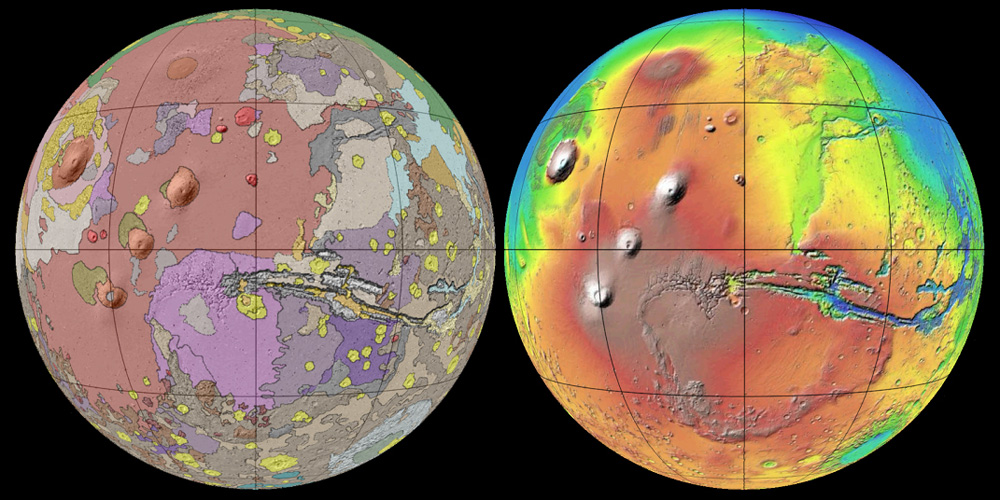Geologic map of Mars on the left, elevation map on the right