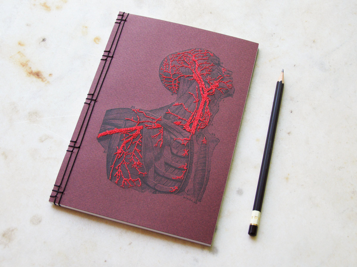 Hand Embroidered  Anatomical Notebooks 1