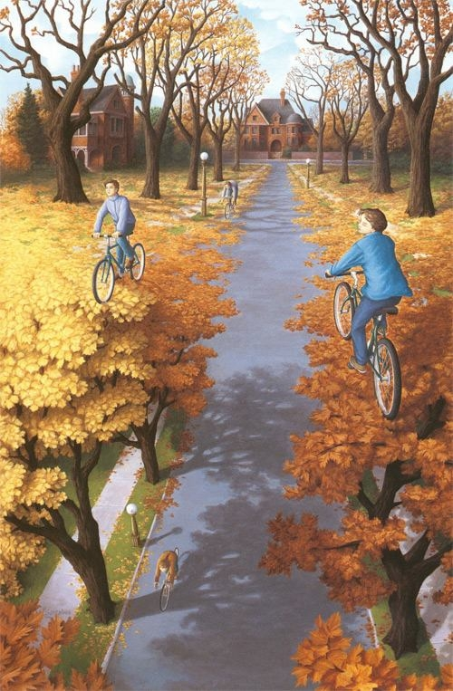 Autumn Cycling by Rob Gonsalves